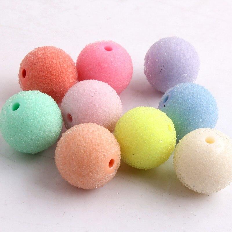 Kwoi Vita Pastel mezcla colorido de cristal grueso de imitación de semilla de resina Bling bola de goma cuentas para niños collares de 9mm a 21mm