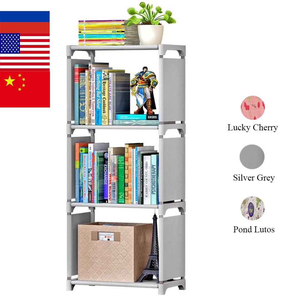 4 niveaux Portable Simple étagère à livres non tissé facile installer étagères bibliothèque enfants étagère minimaliste moderne décoration pour la maison bricolage