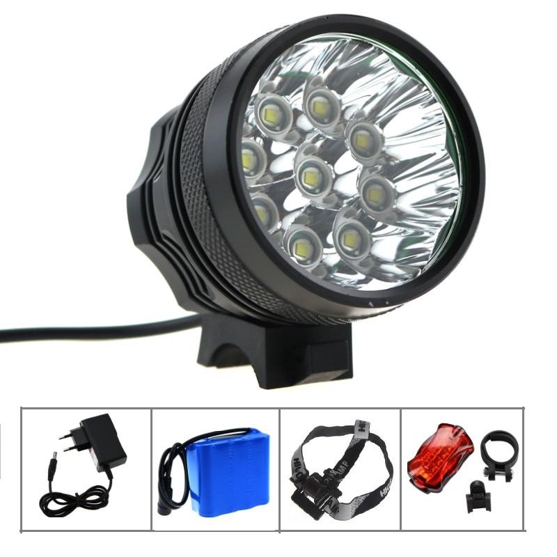 15000 lúmenes 9x CREE XML T6 LED impermeable bicicleta de montaña luz de la bicicleta Linterna + 18650 Paquete de batería + cargador