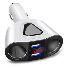 Universal 12V-24V Car Splitter Cigarette Lighter Socket Power Adapter 3.1A Dual USB Car Charger 120W Output with Voltage display