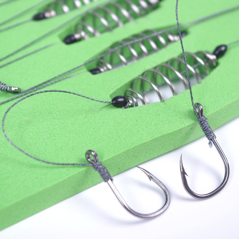 AliExpress - 5 Pcs/Set Double Hook Fishing Line Stainless Steel Barbed Carp Hooks Bait Feeder Spring Fish Hook Tools Accessories