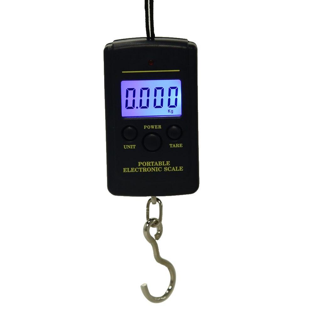 Báscula Digital pequeña de 40kg x 10g para equipaje de pesca, viaje, báscula de acero para colgar, balanza de gancho electrónica, báscula de mano