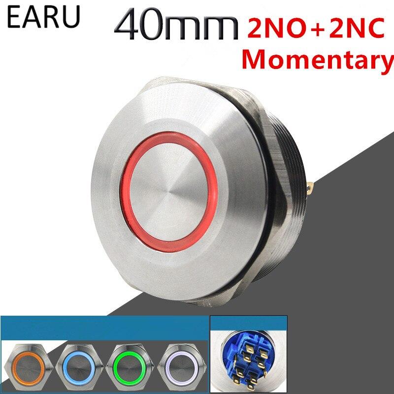 40 MM 2NO 2NC acero inoxidable Metal momentáneo a prueba de agua timbre bocina LED Botón de empuje interruptor coche motor arranque PC