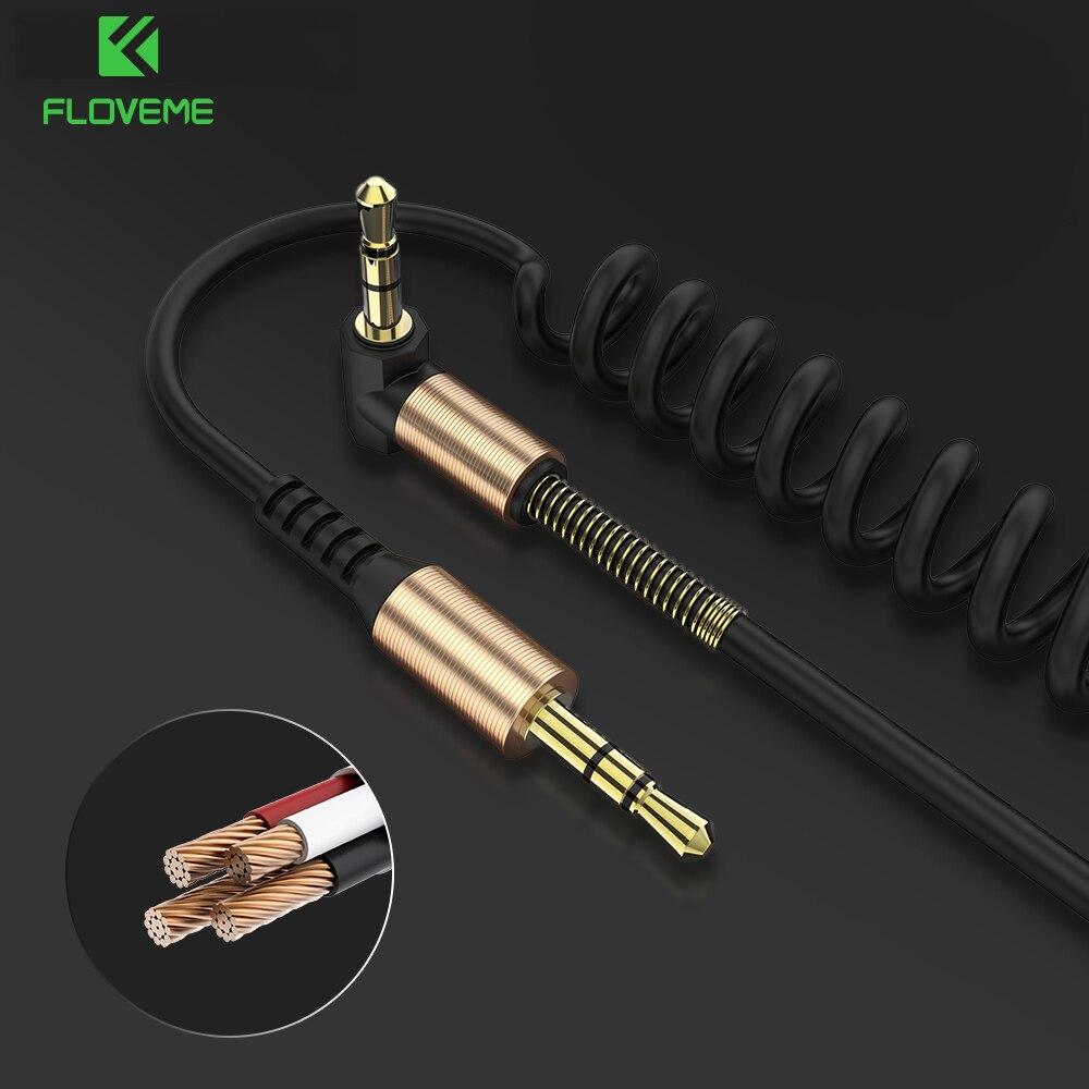 Cable auxiliar de Audio FLOVEME, conector de 3,5mm a conector macho a macho, Cable estéreo, Cable auxiliar con resorte telescópico para teatro de ordenador de coche