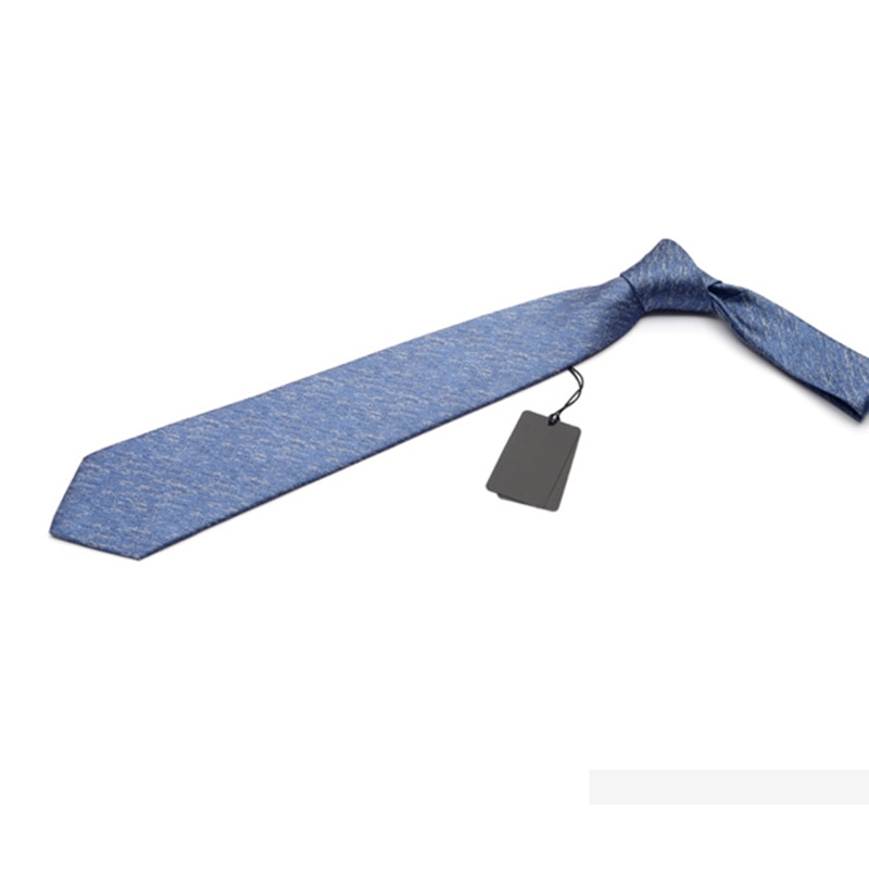 2019 High Quality New 8cm Men Tie Solid Color Slim Ties For Men Party Wedding Fashion Business Casual Neckties Blue Gift Box