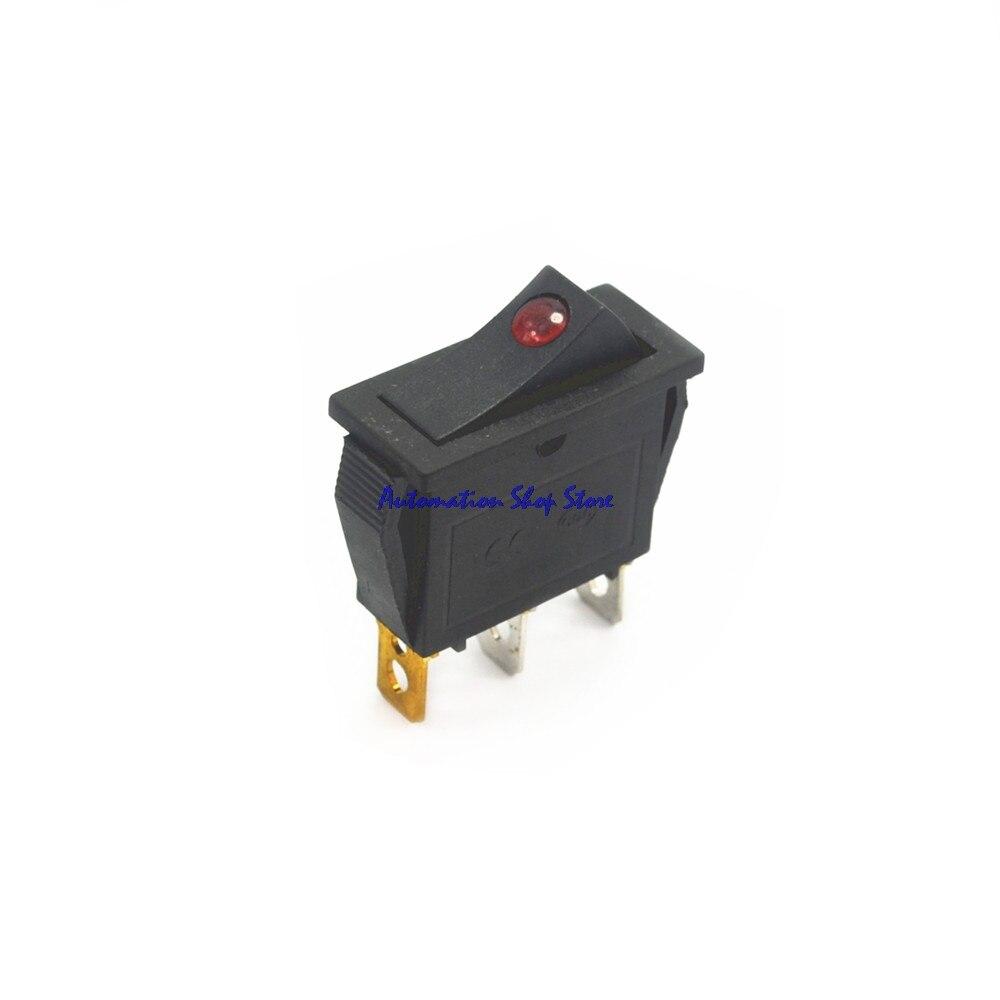 5 uds LED rojo iluminado punto iluminado interruptor basculante redondo botón 3 pin ON/OFF palanca SPST coche barco camión remolque