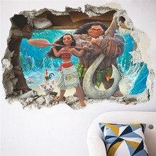 Cartoon Movie Moana En Maui Movie 3D Smashed Muur View Sticker Poster Vinyl Jongens Meisjes Kinderkamer Home Decor Decal muurschildering