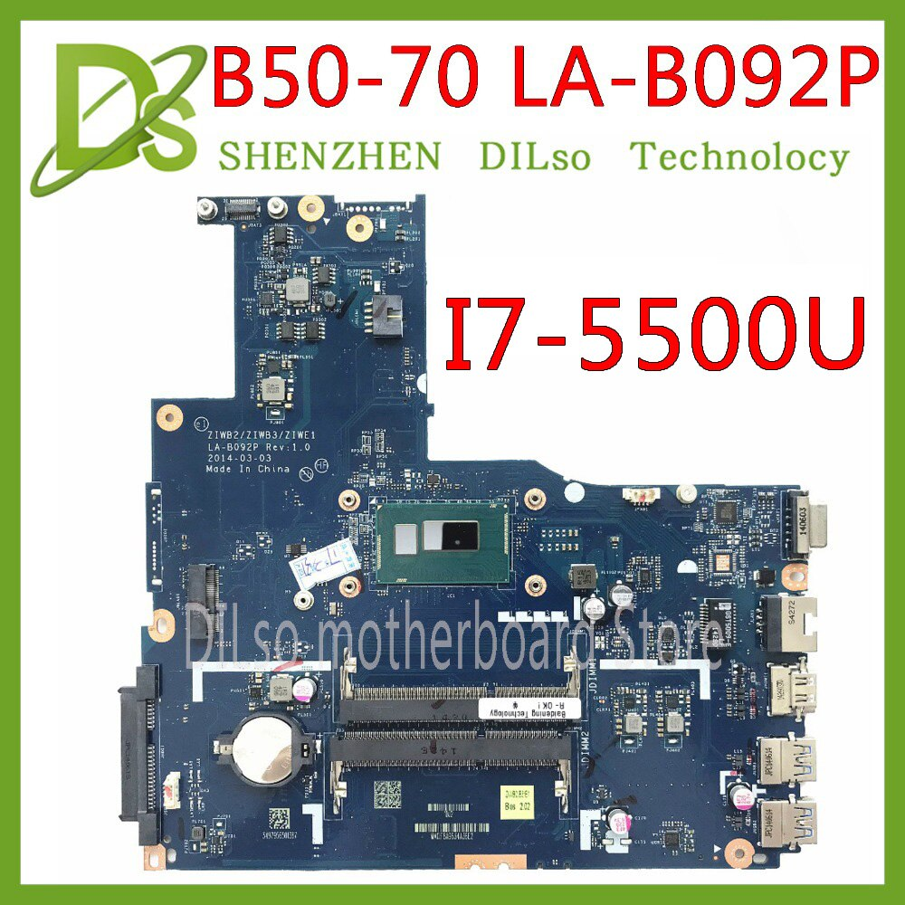 KEFU ZIWE1/ZIWB2/ZIWB3 LA-B092P para Lenovo B50-70 N50-70 placa base i7-5500U CPU LA-B092P Rev 1 Placa base de prueba