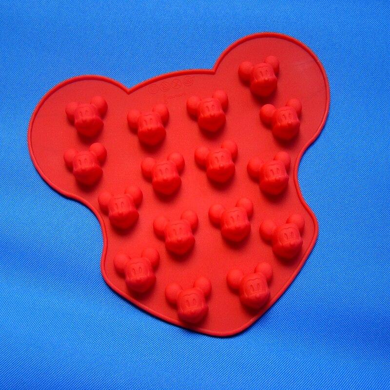 Gran venta (2 unids/lote) molde de silicona Chocolate 16 lovely Mickey Mouse pastel molde de dibujos animados hecho a mano jabón molde herramienta de panadería