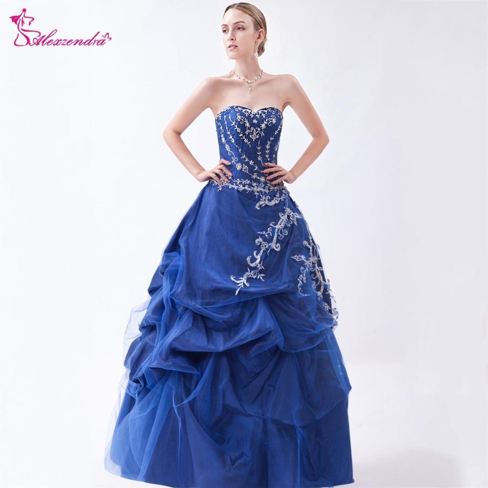 Alexzendra Blue A Line Satin Quinceanera Dresses 2018 Sweetheart Ruffles Long Quinceanera Dresses for Girls