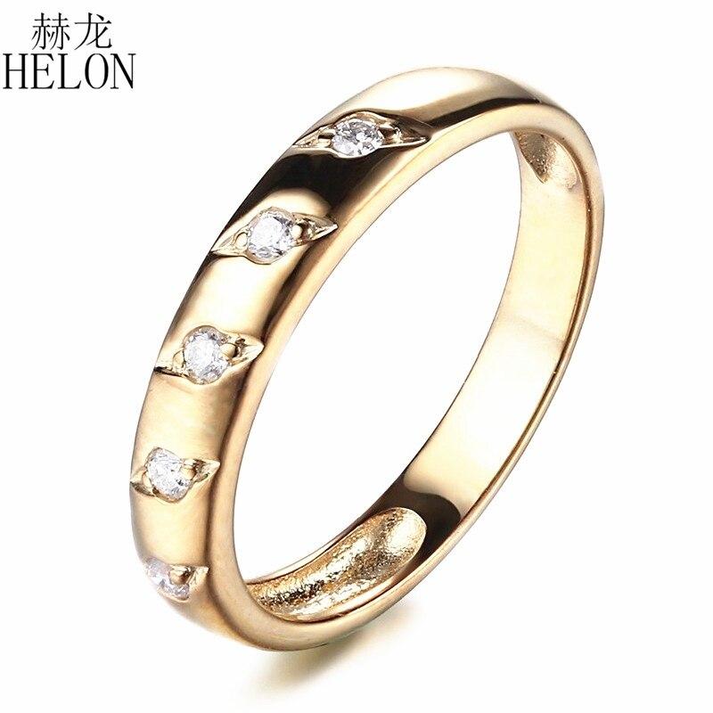 HELON Rodada Completa Natural SI/H Deslumbrante 0.12ct Diamante Sólido 14 K Ouro Amarelo Anel de Casamento Mulheres Engagement Fine Anel de Banda de jóias