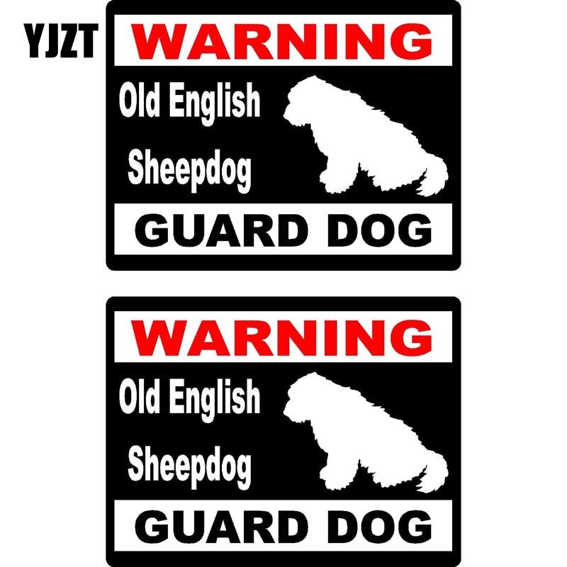YJZT 15*11,5 cm 2x advertencia de dibujos animados antiguo perro pastor inglés perro guardia divertido Retro-reflectante adhesivo de ventana de coche calcomanías C1-8170