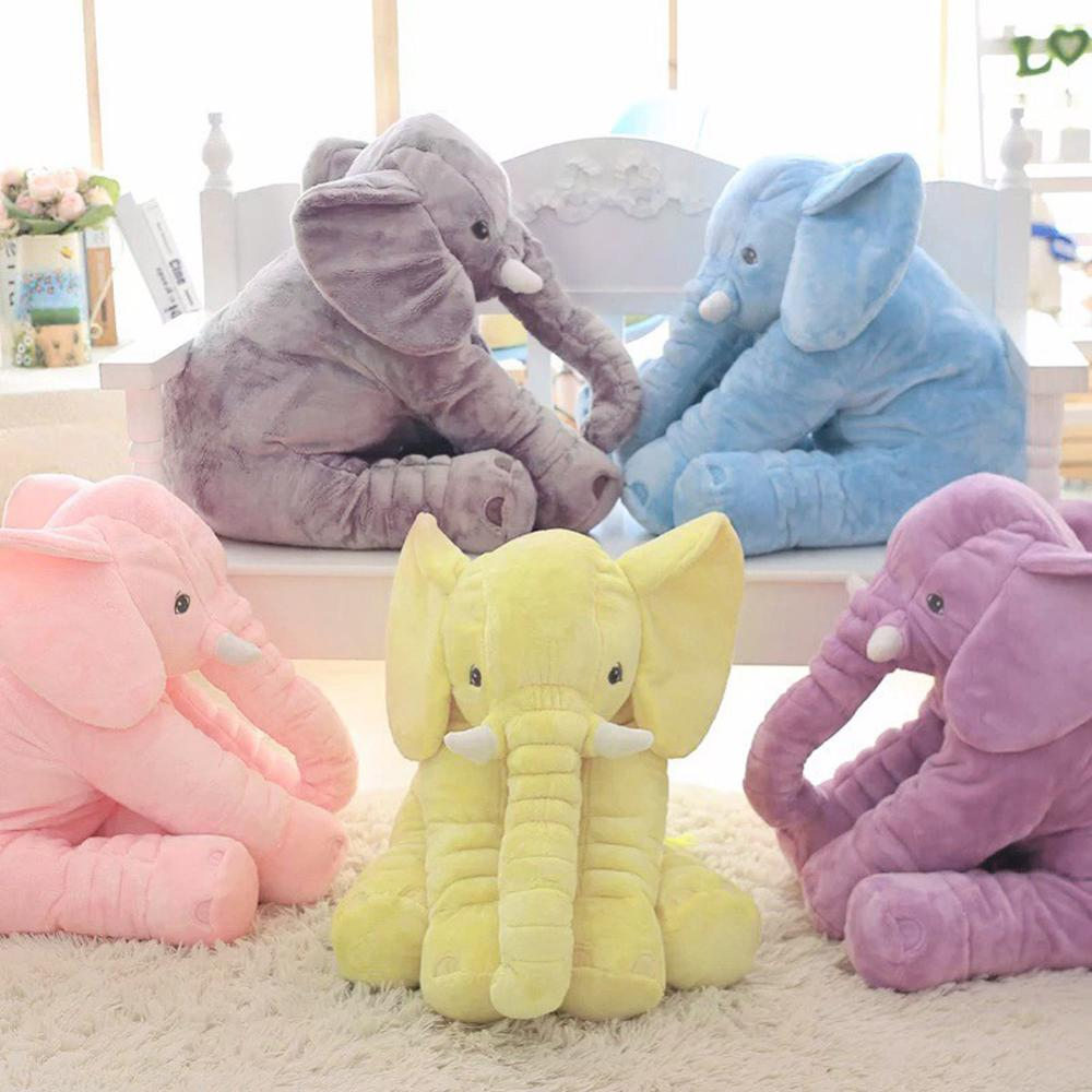 40cm/60cm Height Large Plush Elephant Doll Toy Kids Sleeping Back Cushion Cute Stuffed Elephant Baby