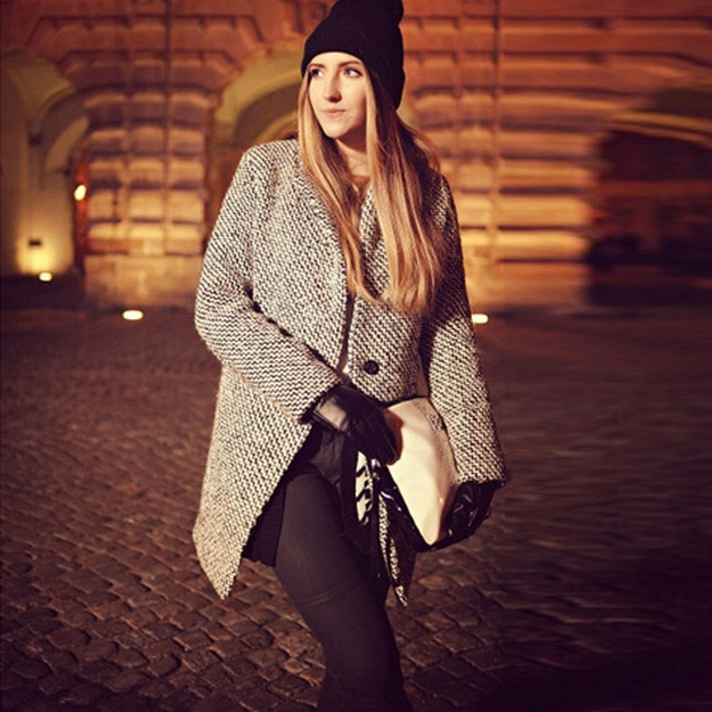 Chaqueta de lana para mujer talla grande manga larga cuello vuelto chaqueta de abrigo Casual Otoño Invierno elegantes abrigos largos