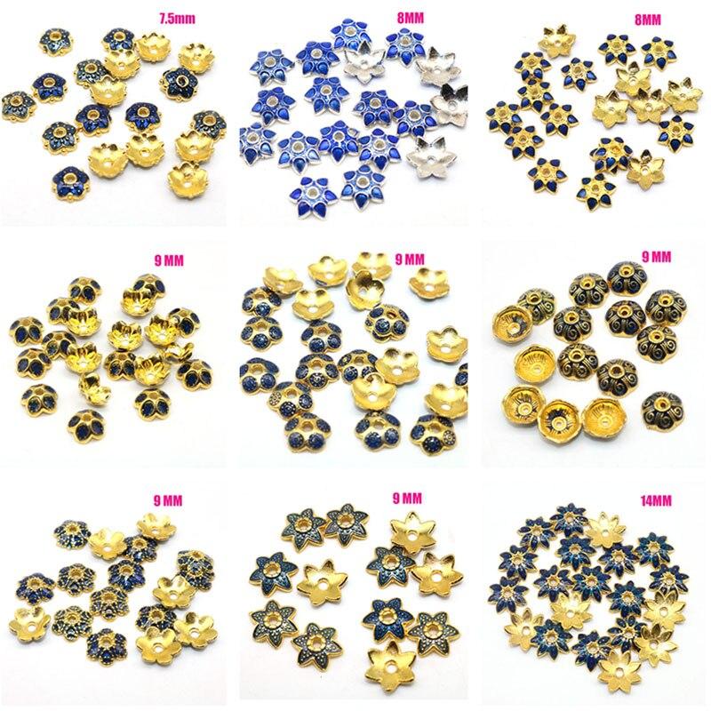 Großhandel Gemischt 10PCS Bead Caps Blumen Metall Goldene Überzogene Handmande Tropfen öl Perlen Kappen zubehör Diy für Schmuck Machen