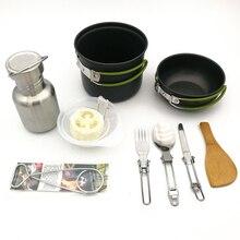 Camping al aire libre vajilla senderismo utensilios de cocina Picnic ambulante tazón olla Pan con doble cuchillo cuchara Bushcraft gancho botella