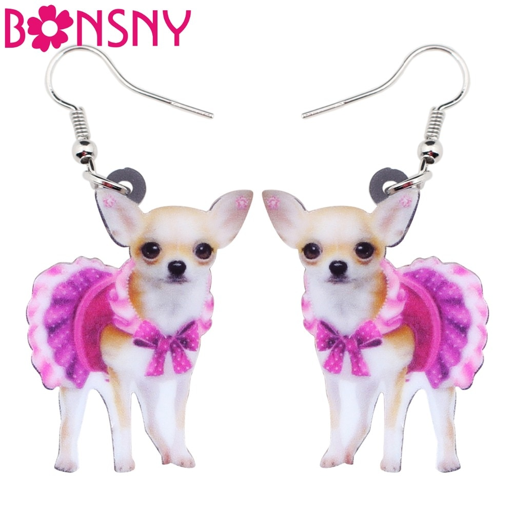 Bonsny Acrylic Pink Dress Chihuahua Dog Earrings Big Long Dangle Drop Animal Jewelry For Girls Women Ladies Teen Accessories Pet