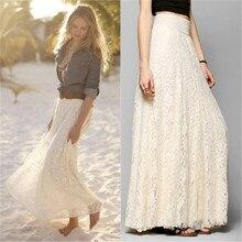 Nouvelle marque femmes Long Maxi Skits taille élastique jupes Double couche de dentelle en mousseline de soie plissée