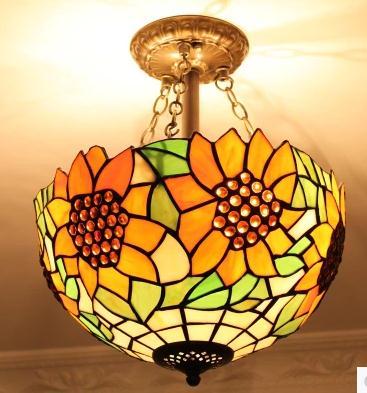 Lámpara de techo de girasol pastoral de estilo mediterráneo con vidriera retro...