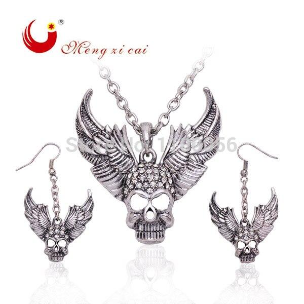 T1570 envío gratis joyería de calavera chapada en plata con alas collar de declaración de oro 2015 para mujeres regalos de Halloween