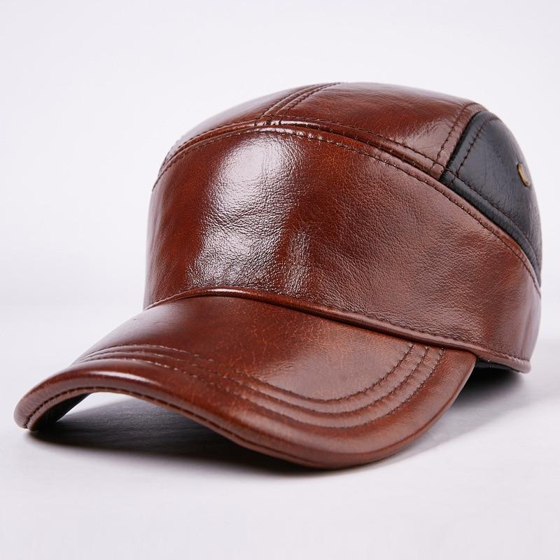 Recién llegado, sombrero de cuero para otoño e invierno, sombrero protección para los oídos de cuero genuino para hombres, gorro grueso cálido con visera, sombrero de anciano B-7193