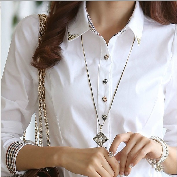 Blusa y Tops OL a la moda para el trabajo 2019 para mujer, camisa blanca de manga larga para mujer
