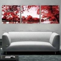 BANMU     peinture sur toile avec arbre rouge et fleurs  Art mural moderne abstrait  decoration de la maison