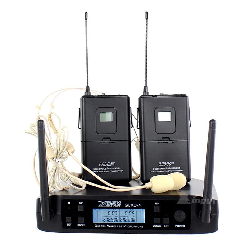 600-650Mhz GLXD4 المهنية UHF سماعة ميكروفون لاسلكي نظام 2 قناة اللاسلكي Bodypack الارسال Earset Headworn Mic