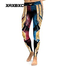 Nova 032 mulher maravilha do vintage superman batman imprime elástico fino fitness workout push up sexy femme lápis calças leggings