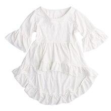 Белая хлопковая одежда с гофрированными вставками, платье-топ, блузка, 1 шт., детская одежда для маленьких девочек, красивая, элегантная одеж...