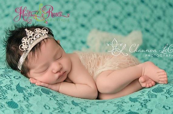 Retail 2015 latest style newborn Crystal crown headband kids girl  shining elastic headband christmas gift hair accessories