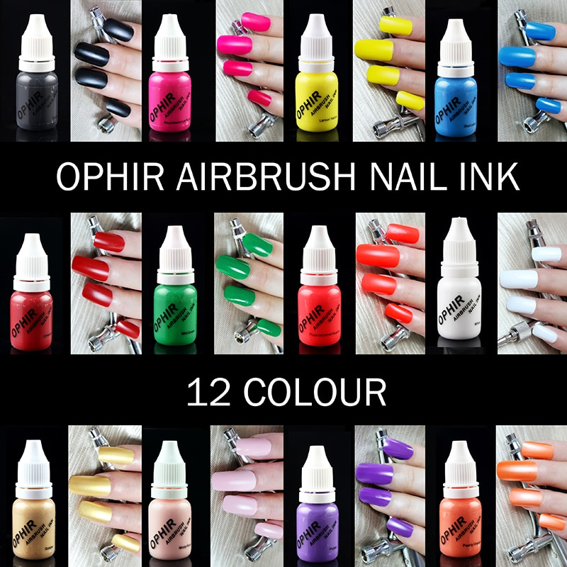 Tinta do prego do aerógrafo de ophir para a arte do estêncil do prego que lustra 10 ml/garrafa o pigmento provisório da tatuagem _ ta098 (1-12)
