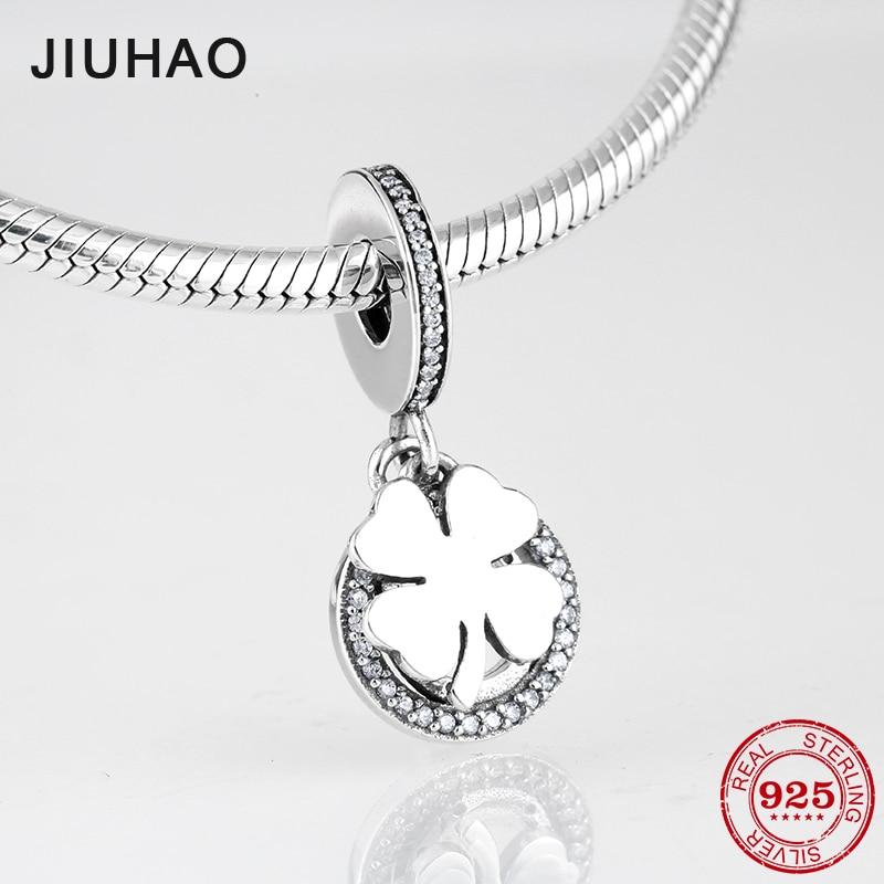 TRÉBOL DE LA SUERTE de plata fina de Ley 925 con abalorios de amor a la moda para hacer joyas