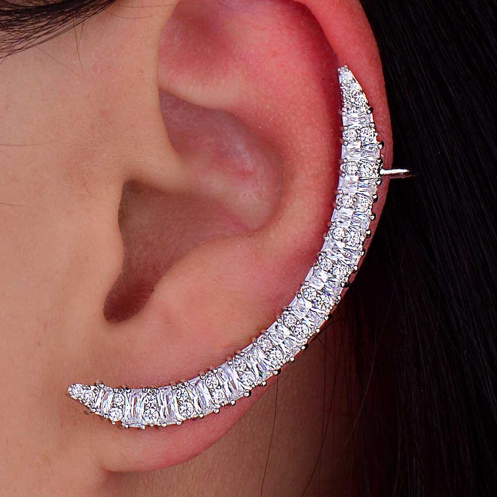 GODKI diseño de lujo maravilloso circón cúbico luna creciente hueso del oído pendiente del manguito