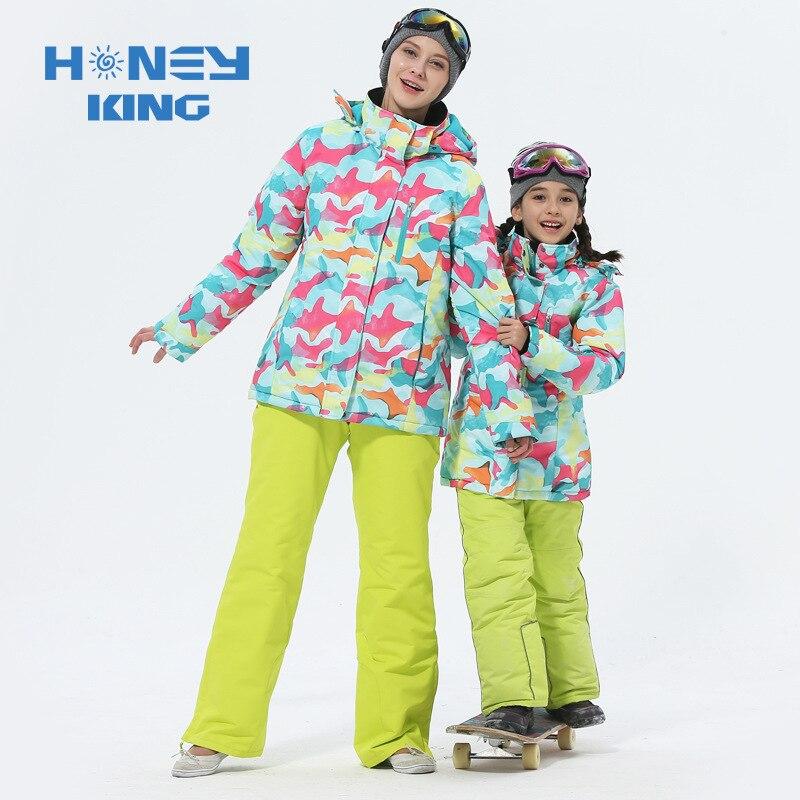 الأم الفتيات الدعاوى تزلج الدافئة للماء صامد للريح الأطفال التزلج على الجليد سترات + بانت الشتاء الكبار الاطفال تزلج الملابس دعوى