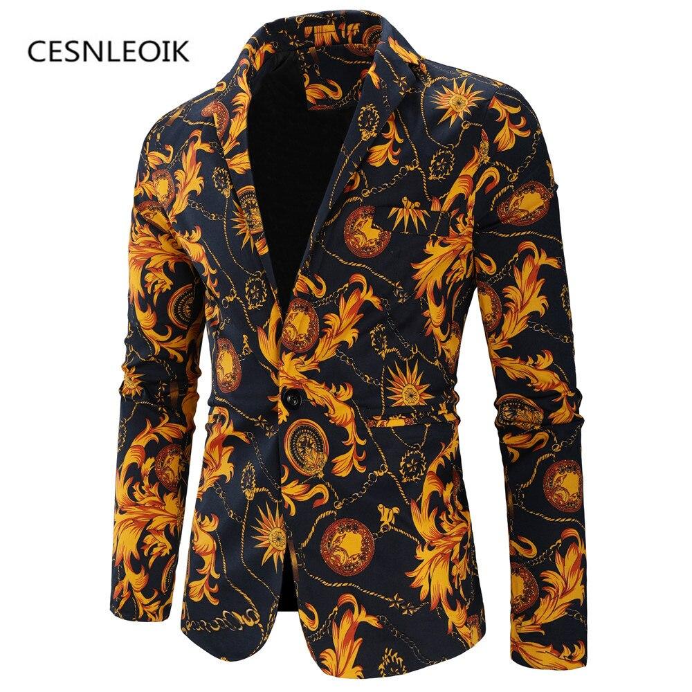 Chaqueta de moda para hombre con estampado Floral, traje ajustado de fiesta, chaqueta de manga larga