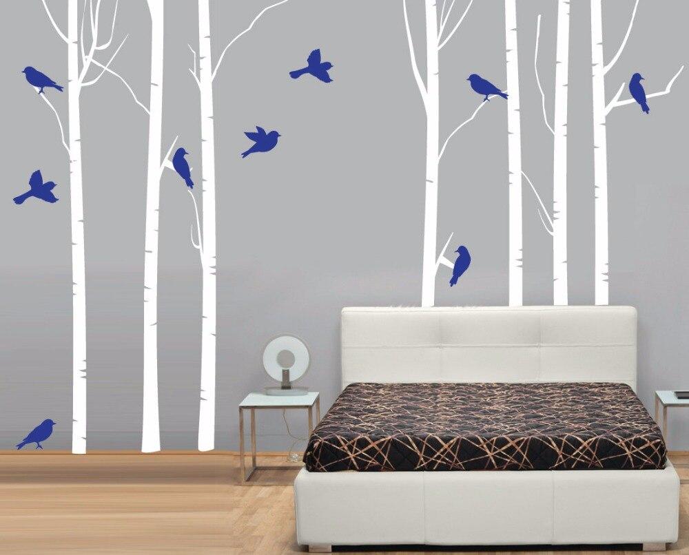 Birch árvores com pássaros decalque da parede árvore floresta decoração para casa sala de estar quarto vinil arte parede adesivos definir a187