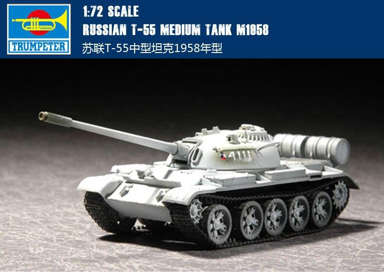 Trompeta mano 07282 1 72 T-55 soviético tanque medio 1958 modelo de montaje