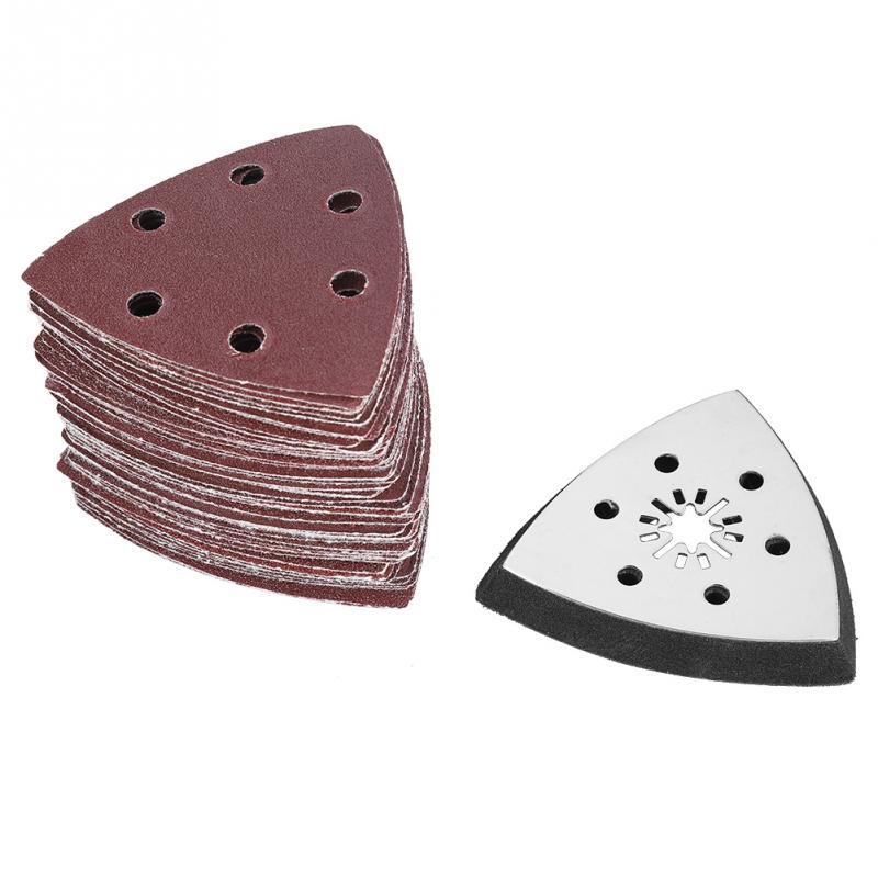 61 uds, 90mm, 6 agujeros, almohadilla de lijado triangular, papel de arena, pulido oscilante, multiherramientas