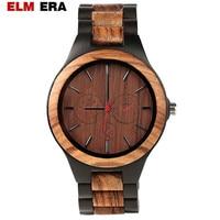 ELMERA Wood Watches Quartz Watch Men Modern Wristwatch Analog Nature Wood Fashion Black ebony Wrist watch Creative Birthday