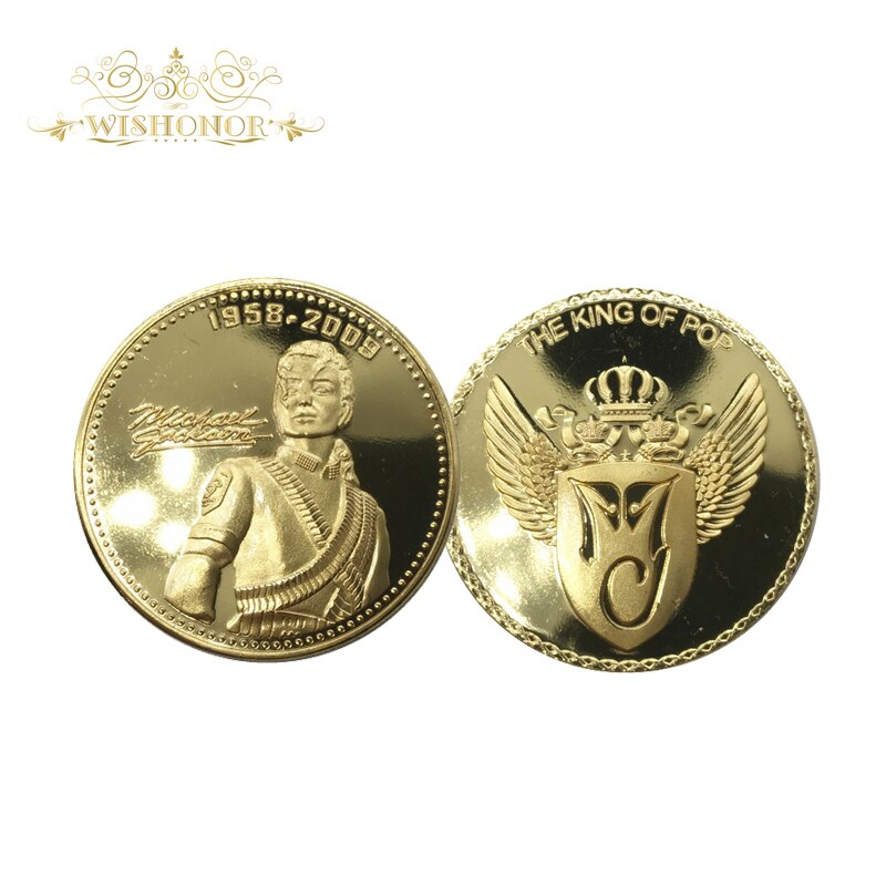 2017 Michael Jackson chapado en oro moneda oro Metal Monedas envío gratis recuerdo Moneda de Oro con caja redonda pequeña