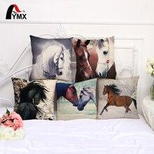 FYMX-housse de coussin en coton   Motif cheval, Animal, pour les canapés de voiture, décoration de la maison