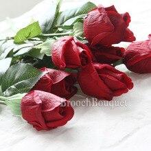 20 pièces/ensemble vraie touche Rose bourgeons fleurs fleurs artificielles mariage Roses fleurs mariage mariée bouquets fête décor fournitures