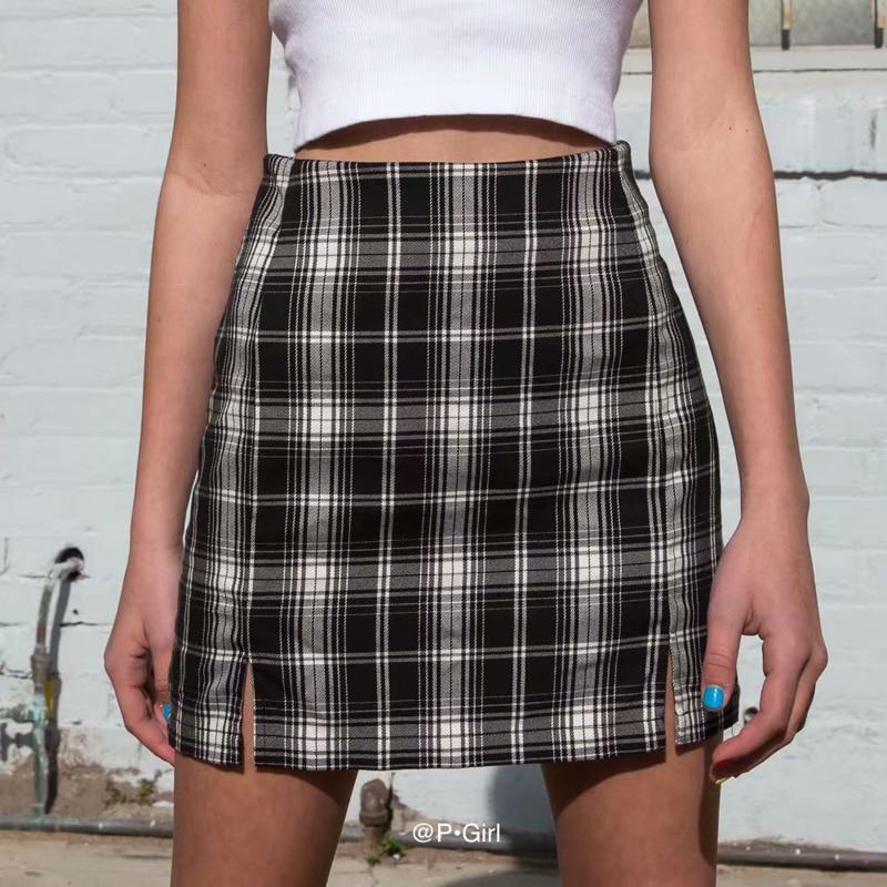 Clássico feminino cinza-branco xadrez estilo preppy casual mini saia frente dupla divisão feminina xadrez a linha mini saia