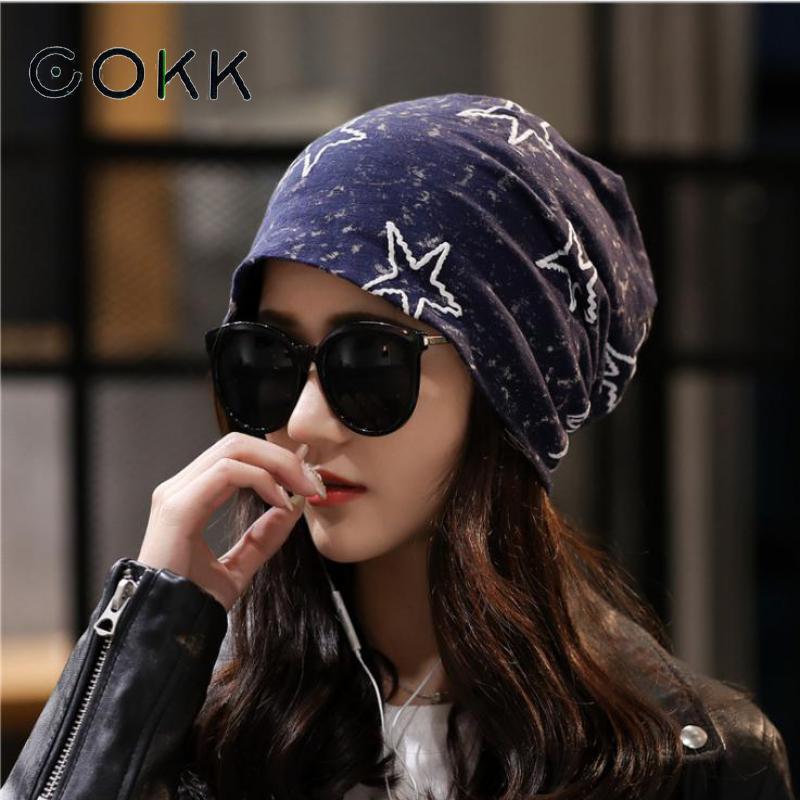 COKK Hat Female Beanies Star Pattern Stretch Hats For Women Men Unisex Summer Autumn Bonnet Womens Beanie Fashion 2020 New Black