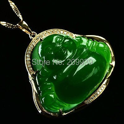 Huij 002749 collar colgante chino hetian jade verde jasper 18 K oro feliz sonrisa de buda