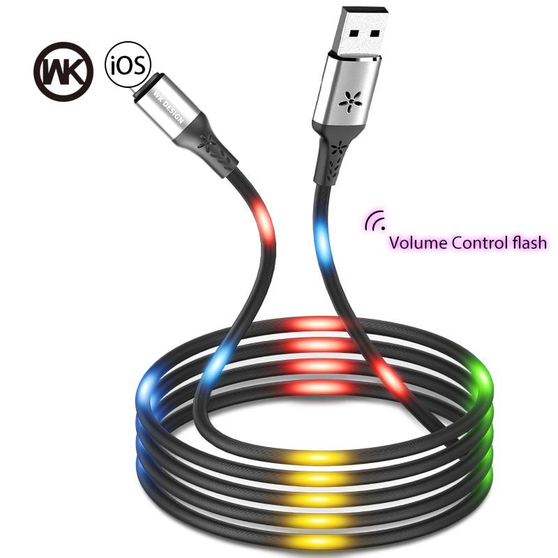 Semana de carga rápido Control de voz flash de luz LED baile Cable USB para iPhone X XS X Max XR 6 7 8 Plus para Cable de iPhone