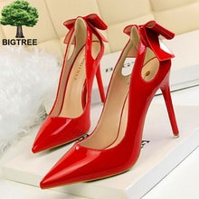 BIGTREE-escarpins à bout pointu pour femmes, talons hauts en cuir verni solide, escarpins peu profonds, chaussures de bureau, OL
