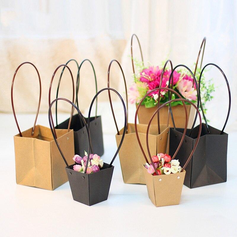 Bolsas de papel Kraft caja de flores con asa ramo a prueba de agua caja de embalaje de regalo de floristería cajas de rosas de San Valentín decoración de fiesta