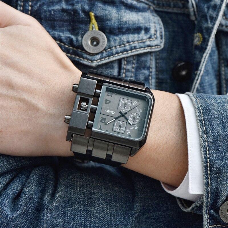 Oulm, reloj de pulsera cuadrado de diseño único Original para hombre, grande y reloj de pulsera informal con ancho correa de cuero, reloj de cuarzo, relojes deportivos para hombre